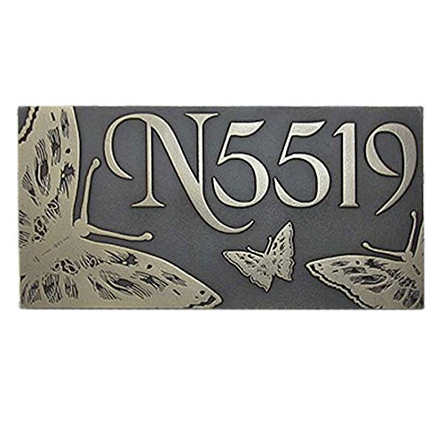 Butterfly Address Plaque - 16x8 - Raised Silver Nickel Metal Coated Sign by Atlas Signs and Plaques