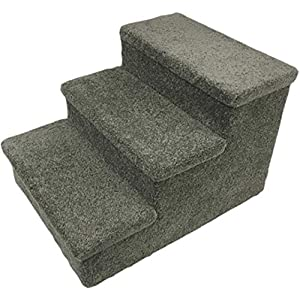 "Penn-Plax 3 Step Carpeted Pet Stairs for Both Cats and Dogs, 150 lb 12.75"", Gray, Pet Steps 2"