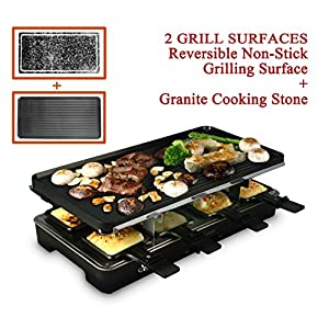 Artestia Raclette Party Grill with Two Full Size Top Plates (Cast Aluminum Reversible Grill Plate and High Density Granite Grill Stone), Serve the whole family (Full Size Stone and Aluminum Plates)