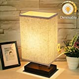Dimmable Bedside Table Lamp, KINGSO UL Listed Plug In Nightstand Lamp With Dimmer Knob Switch E26 Fabric Shade Minimalist Solid Wooden Base For Bedroom Living Room Foyer Baby's Room Adult Children
