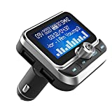 "(Upgraded Version) Bluetooth FM Transmitter, Tohayie Wireless Radio Adapter Stereo Music Player 1.8"" LCD Display with Dual USB Charging Ports, Supports Hands-Free Calling, AUX, TF Card and U-Disk"