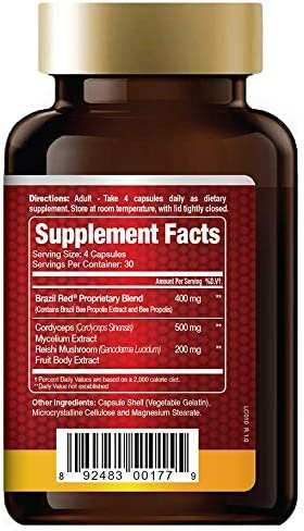 Brazil Red Bee Propolis with Reishi and Cordyceps, Immune Support 120 Veggie Capsules