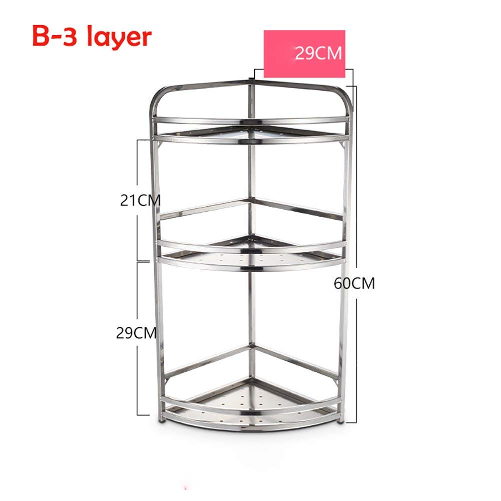 CWJ Stainless Steel Kitchen Stool Storage Basket Muti-Layer Spice Rack Sink Tableware Drain Shelf Table Storage Shelf,B-3layer