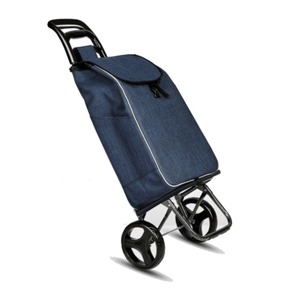 ZR-ショッピングカート 大型トロリードリー、折り畳み式カート(ブルー、グレー、サッカーブルー、サッカーグレー)-35 * 20 * 95cm -ショッピングと持ち運び (色 : Blue) B07FMM99LS  Blue