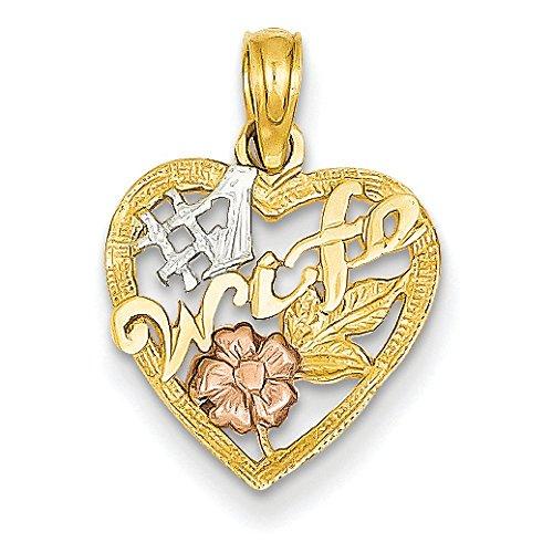 14 carats-Bicolore Épouse numéro 1 en forme de cœur avec Rose-Pendentif JewelryWeb