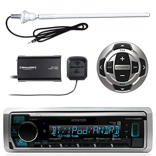 """Kenwood MP3/USB/AUX Marine Boat Yacht Stereo Receiver - Bundle Combo with KCARC35MR Wired Remote Control, SiriusXM Radio Tuner, Enrock Outdoor Rubber Mast 45"""" Antenna"""
