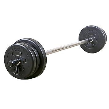 ScSPORTS 10002211 - Mancuernas de 6 Discos, 2 x 5 kg + 4 x 2.5 kg, 140 cm, Color Negro y Plateado: ScSPORTS: Amazon.es: Deportes y aire libre