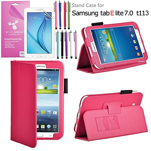 Galaxy-Tab-E-Lite-70-Case-EpicGadgetTM-Galaxy-E-Lite-Premium-PU-Leather-Folding-Folio-Cover-Case-with-Built-in-Stand-For-Tab-E-Lite-7-inch-T113-Screen-Protector-1-Pen-Hot-Pink-Leather-Cover