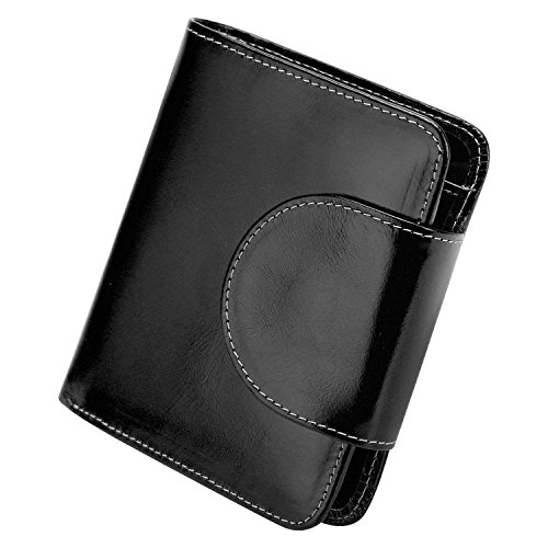 S-ZONE Short Genuine Leather Small Wallet for Women Compact Card Holder with Photo Slot