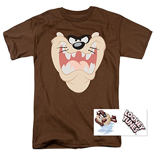 Popfunk Looney Tunes Taz Face T Shirt & Exclusive Stickers (X-Large) (Devil Tunes Tasmanian Looney)