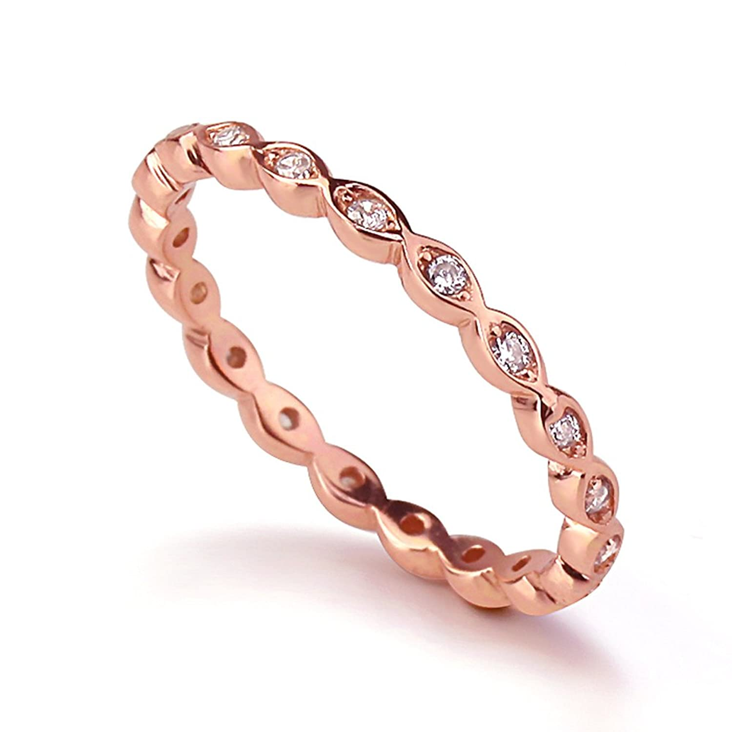 Bundle offer 18k gold plated amp white gold plated necklace 2 ring - Amazon Com Sterling Silver 14k Rose Gold Plated Cz Stackable Band Endless Eternity Ring 2mm Size 4 To 10 Jewelry