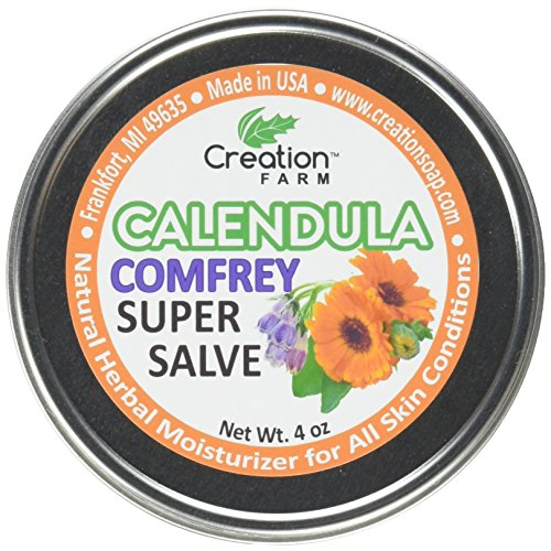 Calendula - Comfrey Salve - Super Salve - Large 4 oz Tin, Super Salve, Herbal Salve. Direct from the Herb Farm, Calendula is an all time favorite herb for dry cracked skin, dermatitis, eczema and psoriasis. Combined these two herbs create a healing salve that people send us new uses for all the time with their testimonials. Customer testimonials over the years have indicated that it is commonly used for Dry Cracking Skin, Extremely dry skin, Calluses, Eczema, Dry Lip Protection, Minor scrapes and burns, diaper rash, sore tired feet