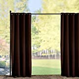 "Grommet-Top Semi-Opaque Outdoor Curtain Panel-50""Wx96""L-Chocolate - Improvements"