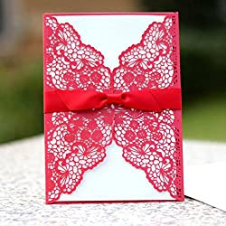WOMHOPE 50 Pcs - Lace Butterfly Flowers Hollow Laser Cut Wedding Invitation Party Wedding Favors Invitation Cards Birthday Invitations Baby Shower Card (Red (White BLANK inner sheets))
