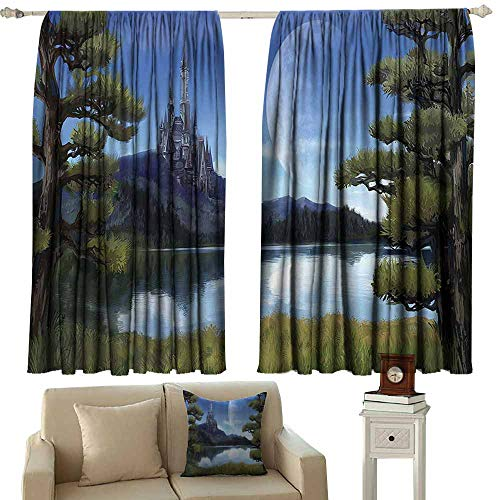 Fantasy Decor Durable Curtain Moon Surreal Scene with Riverside Lake Forest and Medieval Castle on Hill Art 70%-80% Light Shading, 2 Panels,55