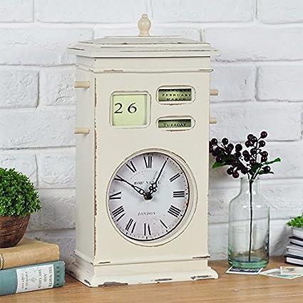 CNBBGJ Unión Americana Retro reloj calendario Calendario Francés, ropa escaparate restaurante Muebles blandos adornos Decoración