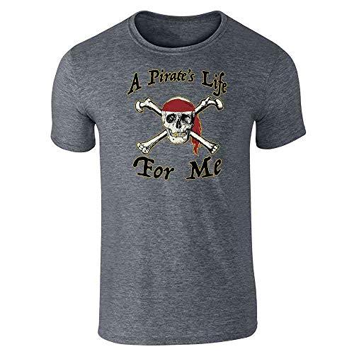 Pop Threads A Pirate's Life for Me Halloween Costume Skull Dark Heather Gray 6XL Short Sleeve -
