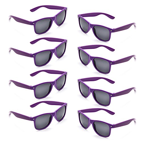Neon Colors Party Favor Supplies Unisex Sunglasses Pack of 8 (Purple) (Purple Sunglasses)