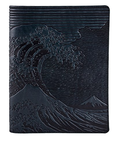 Genuine Leather Composition Notebook Cover + Insert | 8.25 x 10.25 Inches | Hokusai Wave, Navy | Benchcrafted in the USA by Oberon Design by Oberon Design