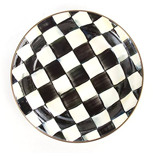 MacKenzie-Childs Stainless Steel Round Pie Plate - Enamel Courtly Check Black and White Print 9.5'' Diametre Pie Dish Pan