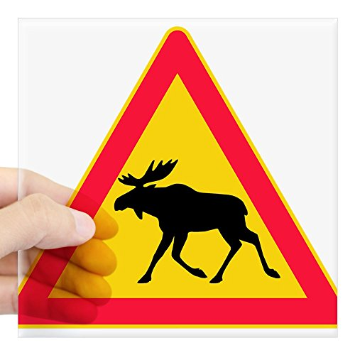CafePress - Moose Crossing Road Sign Rectangle Sticker - Square Bumper Sticker Car Decal, 3