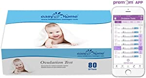 Easy@Home Ovulation Test Strips, 80 Pack Fertility Tests, Ovulation Predictor Kit, FSA Eligible, Powered by Premom Ovulation Predictor iOS and Android App, EZW2-S-80…