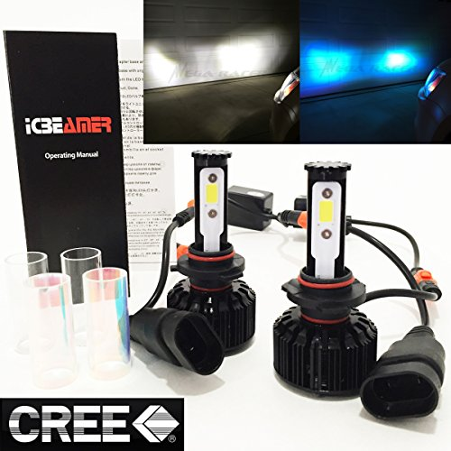 Mega Racer 2 COLOR IN 1 SET 9005-HB3 6000K White 10K Blue (High Beam Headlight) CREE COB LED Conversion Kit 8000LM (Dodge Avenger Racer)