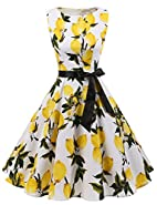 Gardenwed Women's Vintage 1950s Spring Garden Party Picnic Dress Sleeveless Retro Cocktail Dress