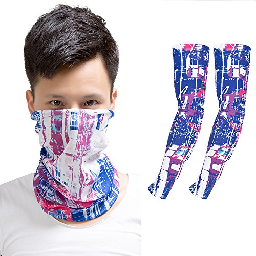 Baiyu Printing Face Mask Bandana+Arm Sleeves, UV Sun Protection Set Elastic Multifunctional Magic Scarf Headband and Compression Arm Warmers - Costume Diy Hippy