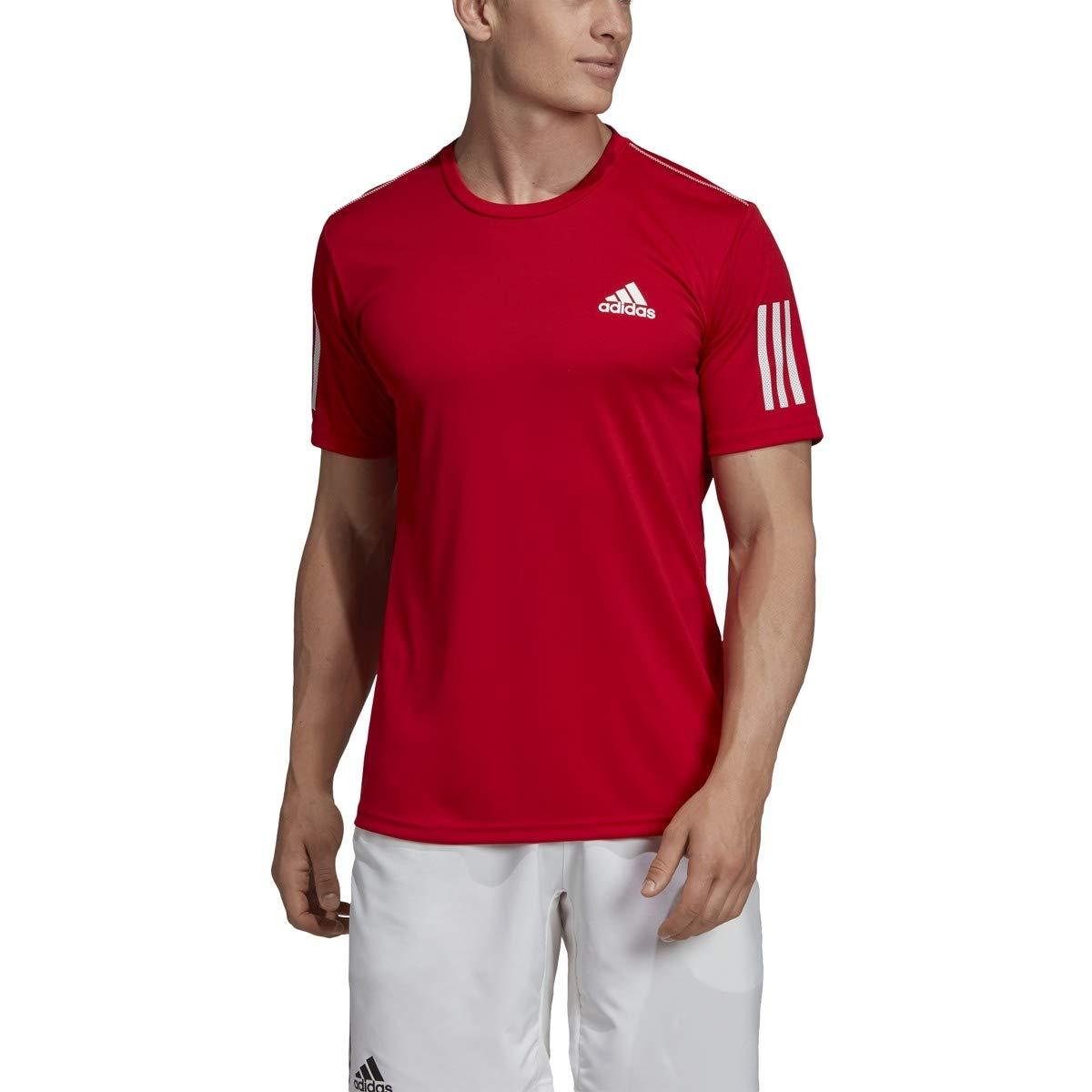adidas Men's 3-Stripes Club Tennis Tee, Scarlet, X-Small