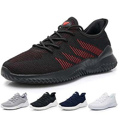 JARLIF Men's Memory Foam Slip On Walking Tennis Shoes Lightweight Gym Jogging Sports Athletic Running Sneakers US7-12 (7, Black)
