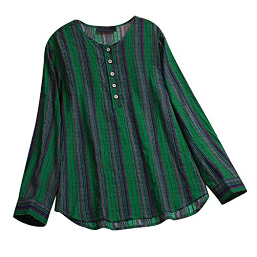 ShenPr Women's Stripe Blouses Buttons Long Sleeve T-Shirt