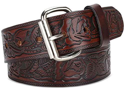 Floral Leather Belt Buckle - Men's Top Grain Western leather Belt,easy to change Roller buckle,1.5