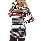 Keliay Bargain Women's Casual Striped Turn-Down Cowl Neck Long Sleeve Sweatshirt Tops Blouse