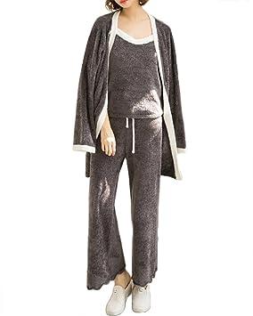 mujer invierno sexy 3 piezas conjunto de pijamas y camisola señoras suave espesar ropa de salón