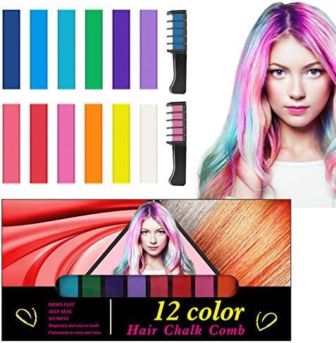 Tizas para el Pelo, Kastiny 12 Colores Tizas Cabello No Toxicas Lavables Coloración Temporal Cabello con 2 Peines, Tinte Tizas Pelo Colores Niñas Hair ...