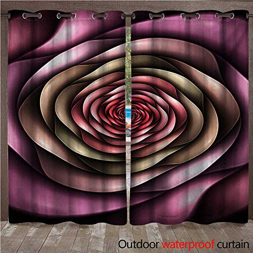 BlountDecor Spires Outdoor Curtain Panel for Patio Rose Petals Curved Winds Around Fixed Center Point at Increasing Digital DesignW120 x L108 Multicolor