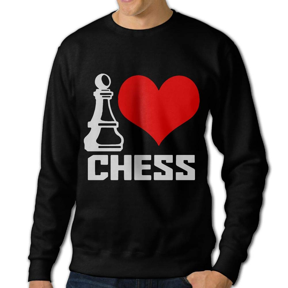 I Love Chess Adult Mens Fashion Long Sleeve Hoodie T-Shirt