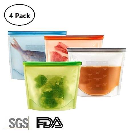 Supband Bolsa Silicona Reutilizable, Preservación de Alimentos Bolsas Silicona de Almacenamiento Conservacion Alimentos Usar para Congelar Calentar ...