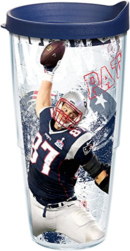 Tervis 1235269 NFL New England Patriots Rob Gronkowski Tumbler with Wrap and Navy Lid 24oz, Clear