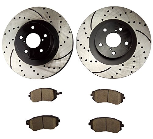 Atmansta QPD10048 Front Brake kit with Drilled/Slotted Rotors and Ceramic Brake pads for Saab 9-2X Subaru Forester Impreza Legacy Outback