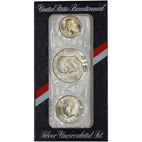 (1976 US Mint Silver 3-pc Bicentennial Uncirculated Coin Set OGP Uncirculated)