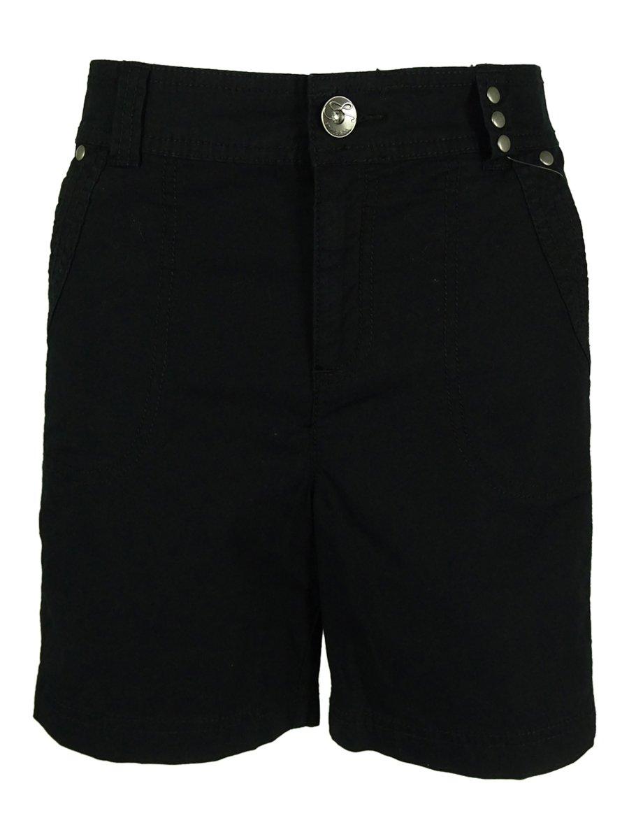 Style & Co. Women's Solid Cotton Blend Mid-Rise Shorts (6P, Deep Black)