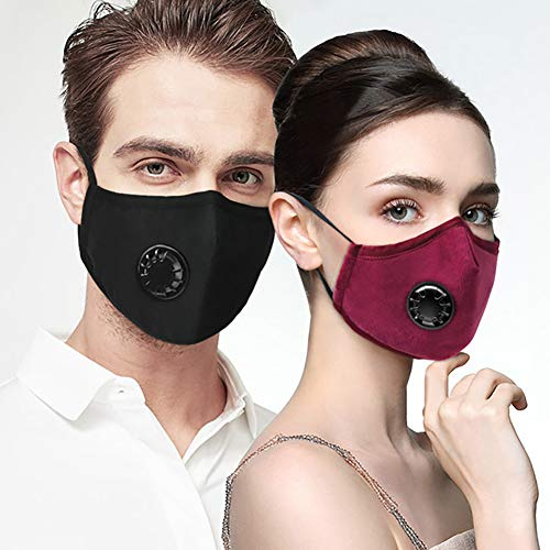 Dust Mask with 2Pcs Filters, Reusable Mouth Mask Protective Mask Respirator Mask Anti Dust Windproof Cotton Face Mask for Outdoor Sports, Travel, Resist PM2.5, Anti Pollution Mask (gray)