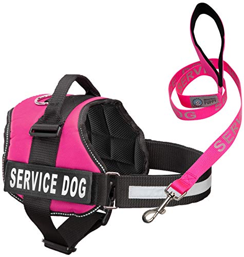Industrial Puppy Service Dog Vest with Hook and Loop Straps & Matching Service Dog Leash Set | Harnesses from XXS to XXL | Service Dog Harness Features Reflective Patch and Comfortable Mesh Design