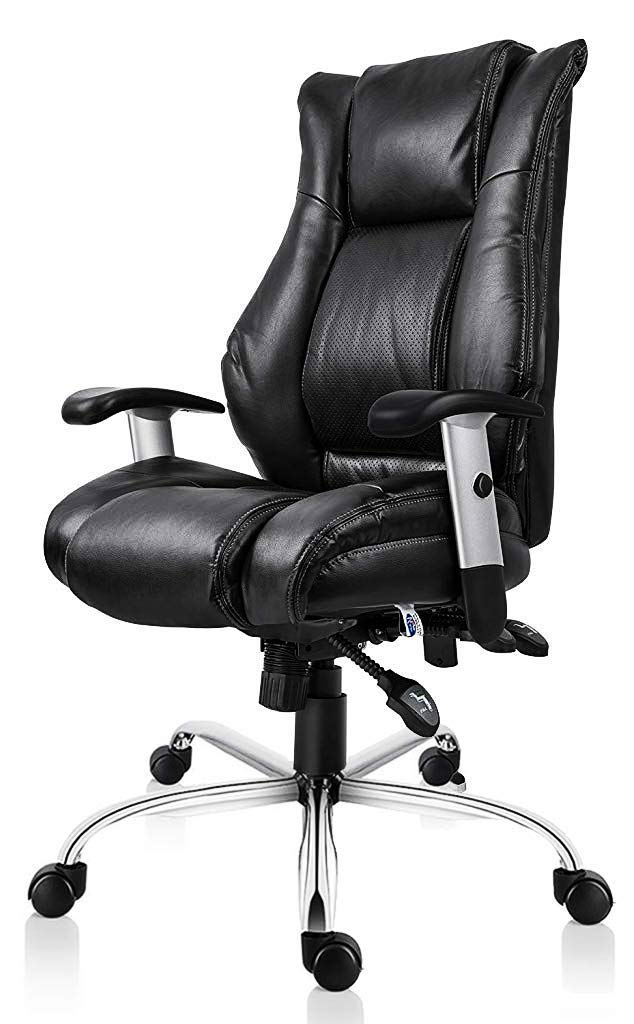 Smugdesk Executive Office Chair Ergonomic Heavy Duty Chair Leather Adjustable Swivel Comfortable Rolling Chair by Smugchair