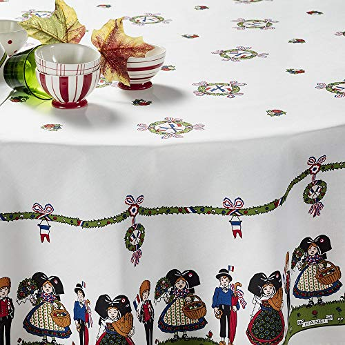 """Beauvillé, Hansi Alsacienne French Tablecloth, 39"""" X 39"""", 100% Satin Cotton, Silk Screen Hand-Painted, Imported"""