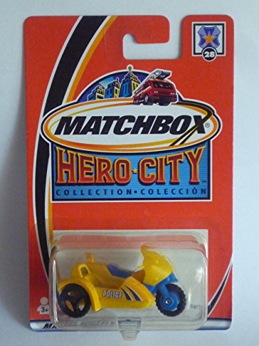 MATCHBOX 2002 Hero City #28 Police Motorcycle w/ Sidecar