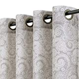 jinchan Linen Textured Curtains for Living Room Paisley Medallion Design Rustic Jacobean Floral Printed Light Filtering Grommet Top Window Treatment Set for Bedroom 2 Panels 50 by 84 inch Taupe