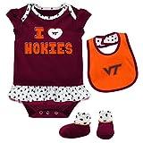 Outerstuff NCAA Virginia Tech Hokies Newborn & Infant Team Love Bib & Booties Set, Maroon, 24 Months